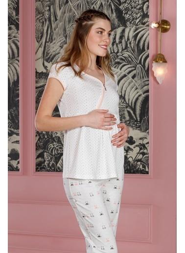 Hays Hamile Fermuar Detaylı Penye 2Li Pijama Takımı Lila